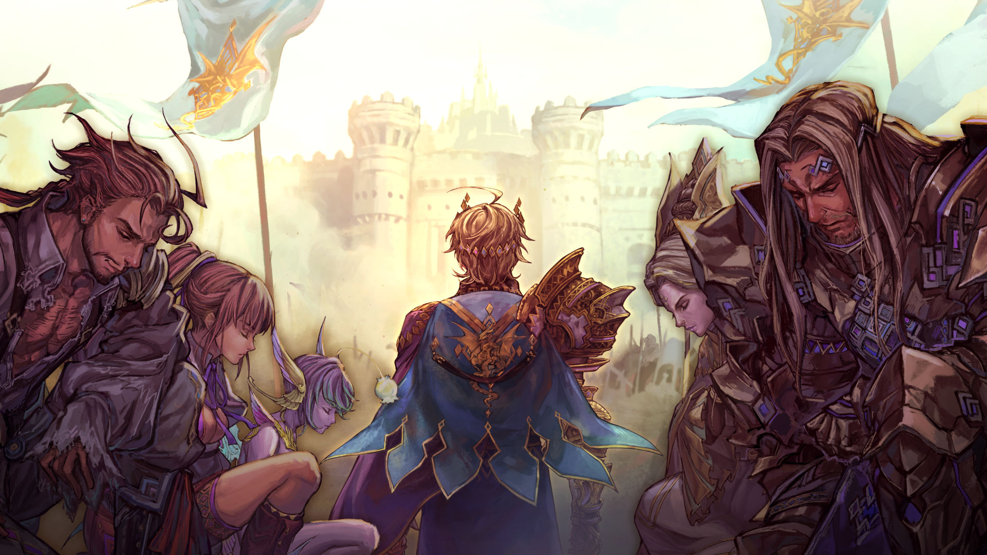 Monarch looking at a castle with others kneeling nearby