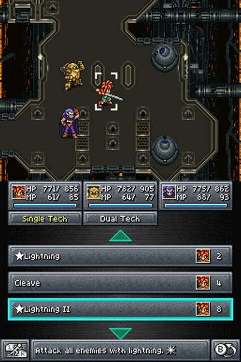 A battle screenshot featuring Robo, Magus, and Chrono for the DS port.