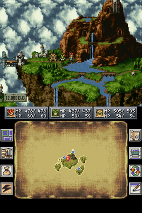 Beautiful world map graphics featuring a mountain and giant waterfall from the DS port.