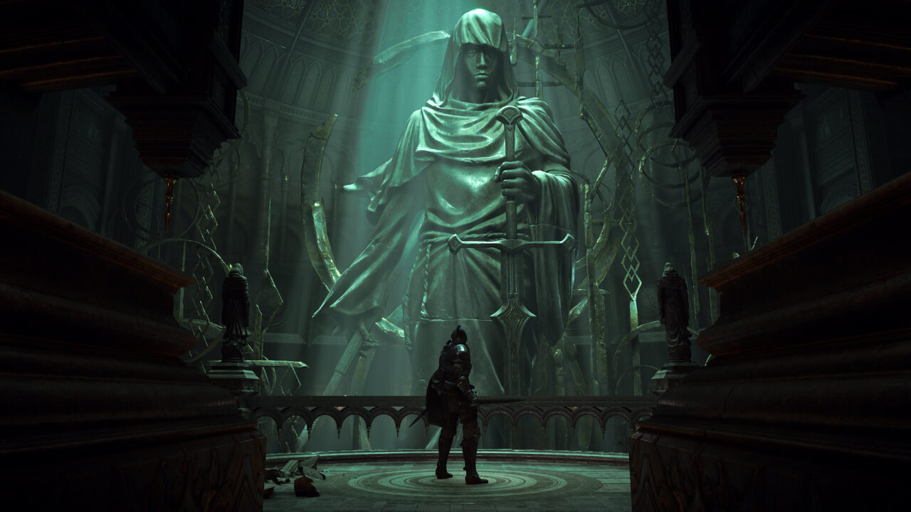Knight stands in a dark cathedral with an overhead light shining down on a giant statue of a hooded figure holding a sword