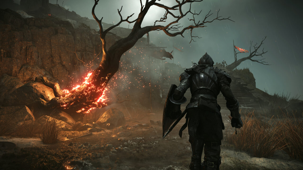 Knight walking in the rain past a dead tree erupting in flames