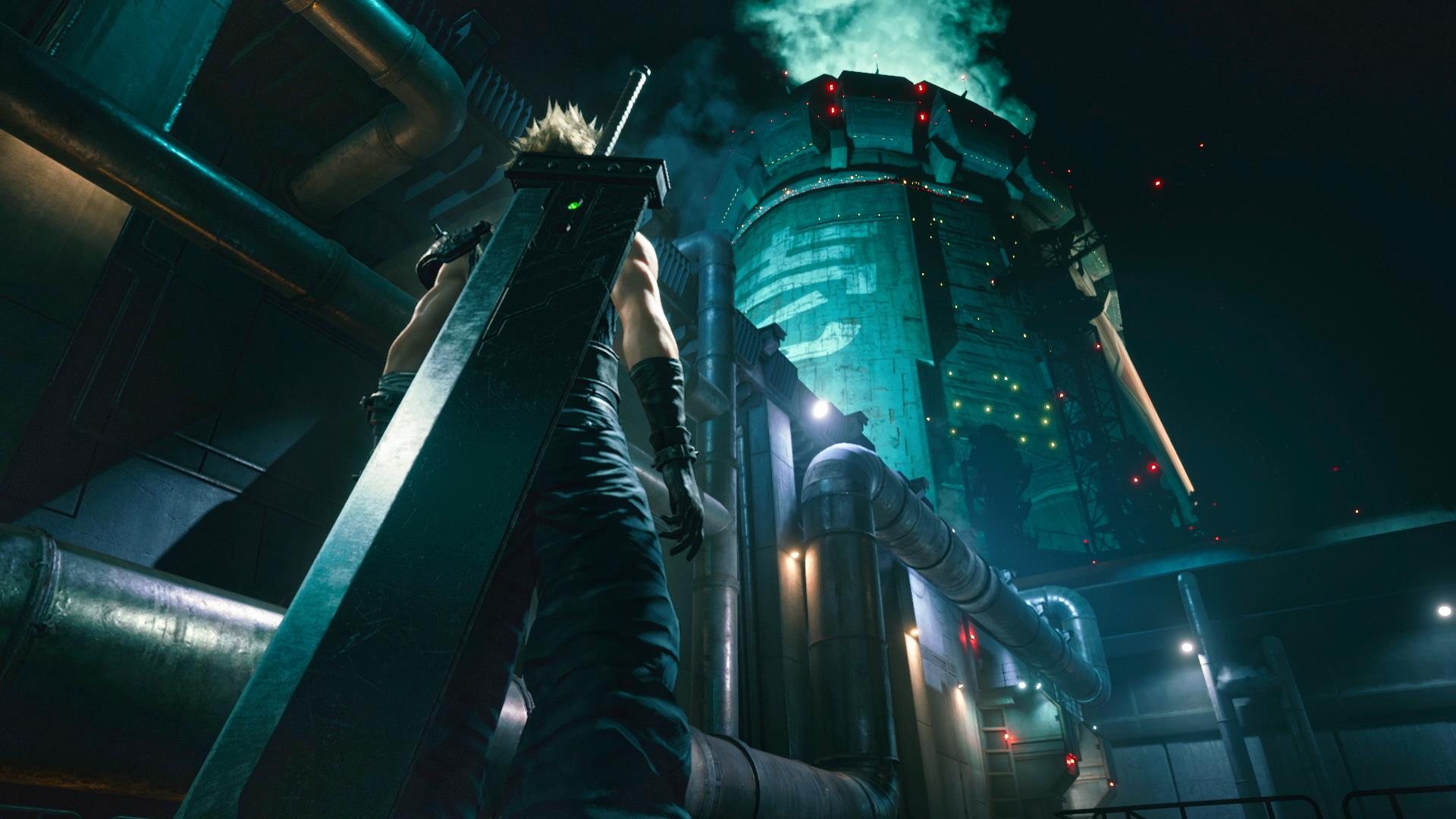 Blonde man with large sword looking up at a power reactor inside an industrial city at night