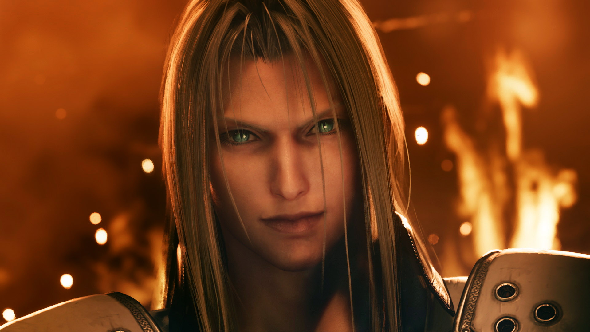 Screenshot of Sephiroth From Final Fantasy VII Remake Wreathed In Flames