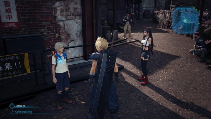 Cloud, Tifa, and Chadley in the Sector 7 Slums.
