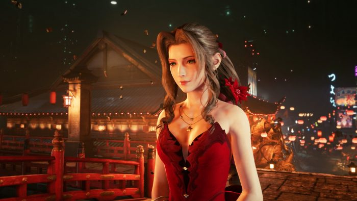 Aerith, dressed up for the evening in Wall Market.