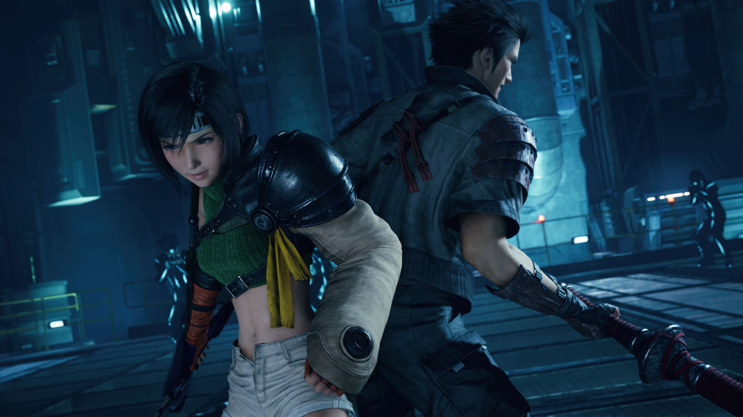 Yuffie and Sonon stand back to back in Final Fantasy VII Intergrade.