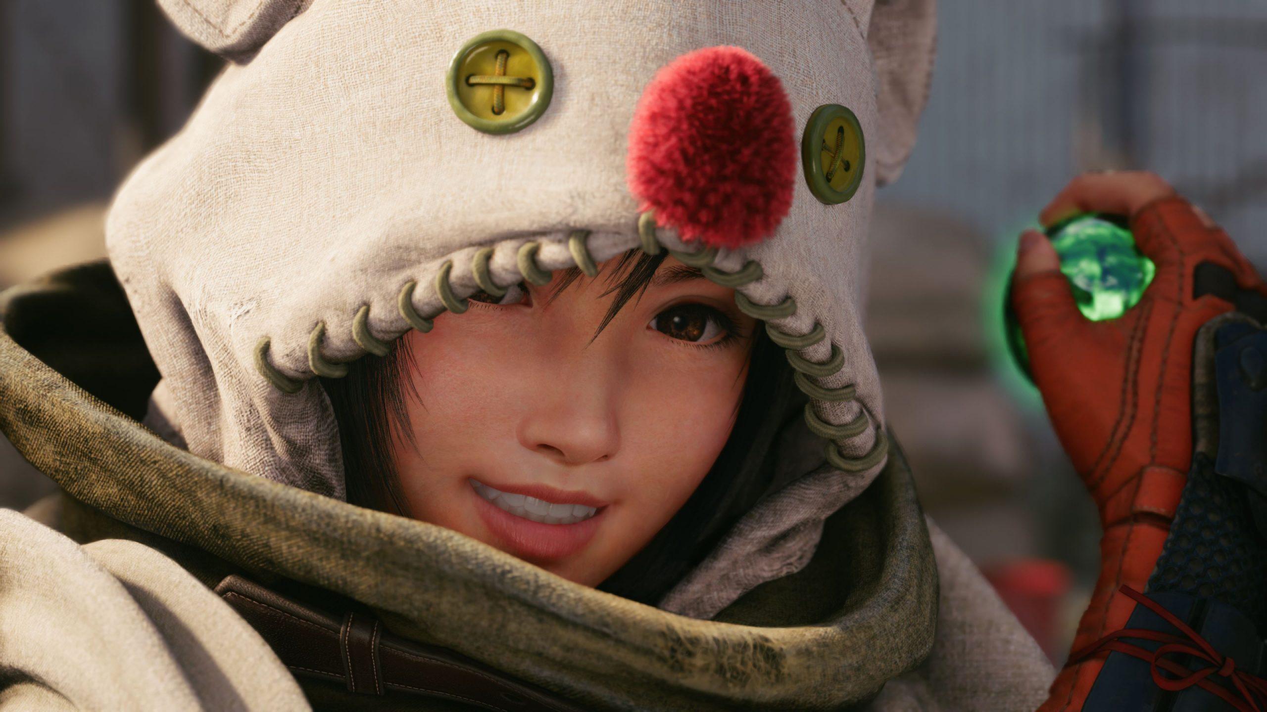 Final Fantasy VII Remake Intergrade Closeup of Yuffie dressed as a patchwork moogle.