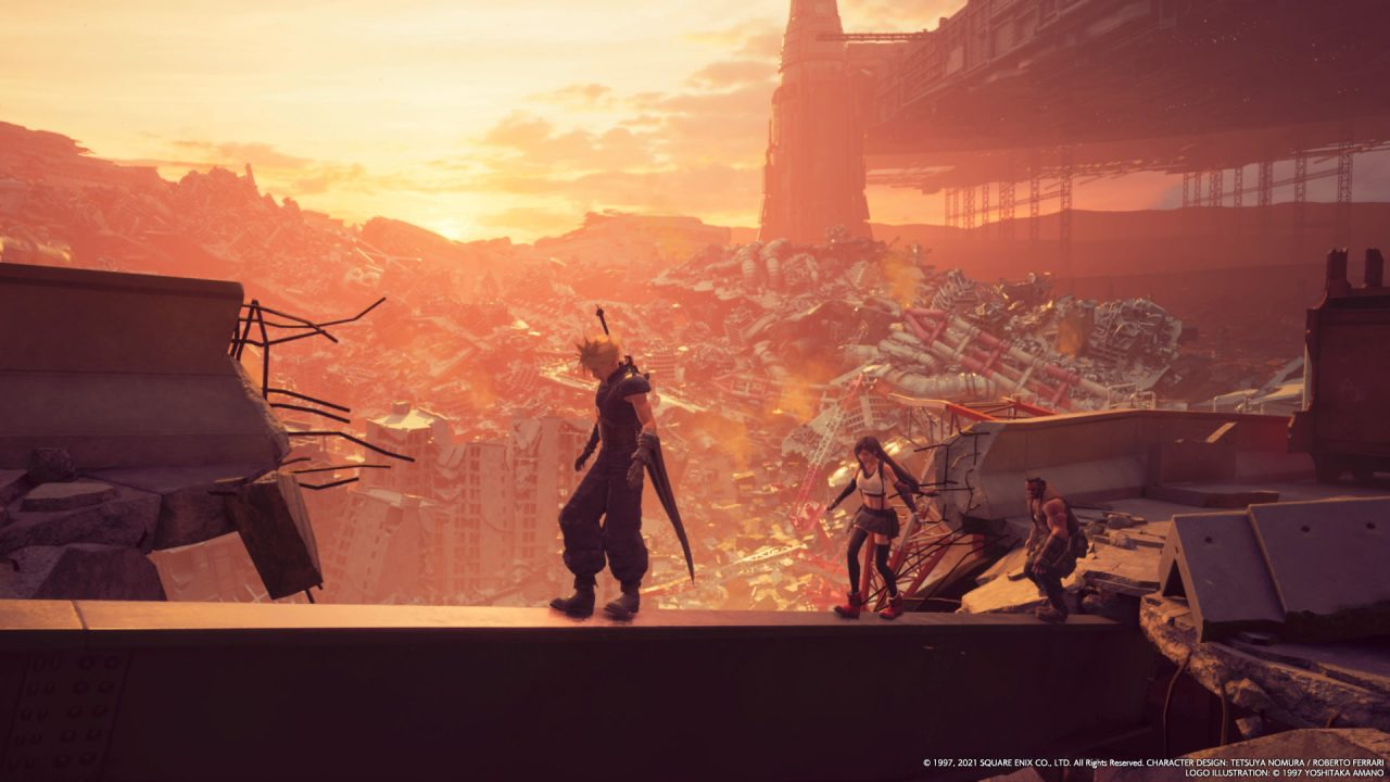 A screenshot of photo mode in Final Fantasy VII Remake Intergrade with Cloud Strife, Barret Wallace and Tifa Lockhart walking across a girder.
