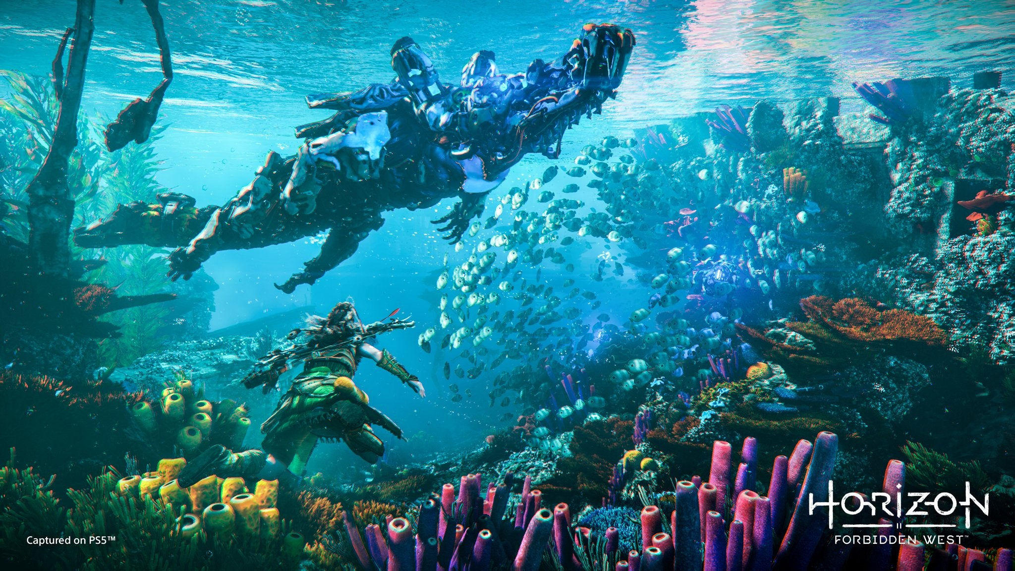 Screenshot From Horizon Forbidden West of Aloy swimming near coral reefs, a school of fish, and a mechanical alligator.