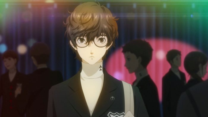 Our protagonist looking mild-mannered in a school uniform and large glasses.
