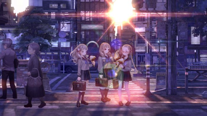 Screenshot of three girls in 13 Sentinels: Aegis RIm eating ice cream by a busy road.