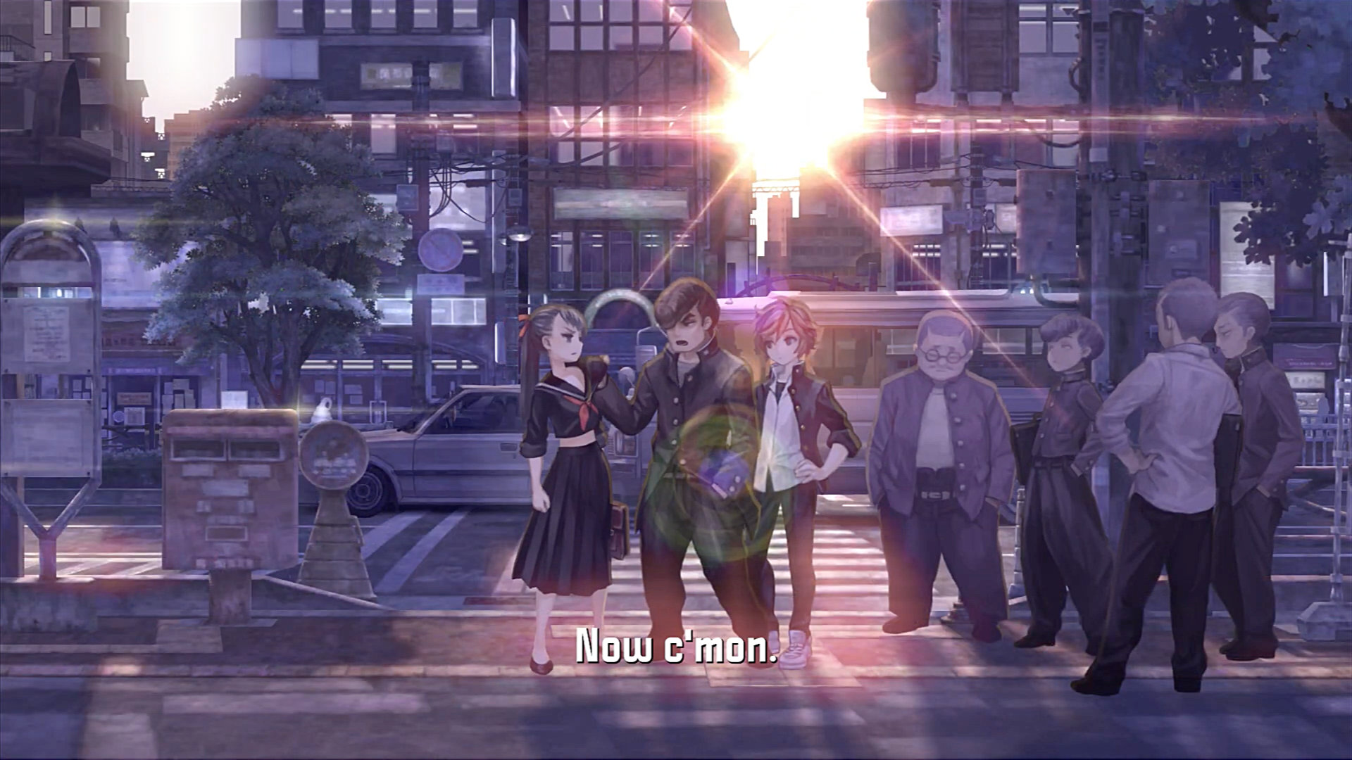 "13 Sentinels: Aegis Rim screenshot encouraging the party to ""c'mon""!"