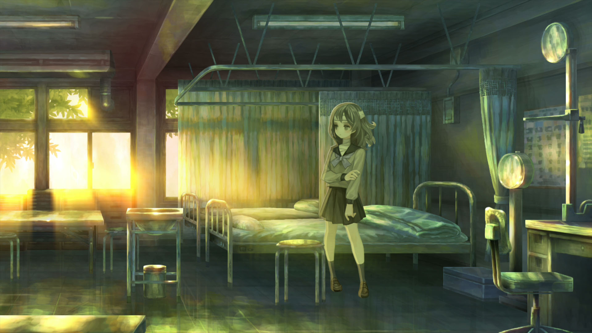 A young woman stands in front of her bed in a dimly-lit room in 13 Sentinels: Aegis Rim.