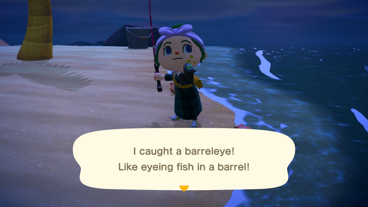 Villager at the shore holds up a small fish with the description I caught a barreleye! Like eyeing fish in a barrel!