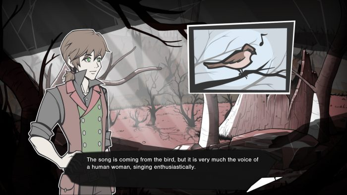 VN-style scene: a young man hears a bird singing in a humanlike voice.