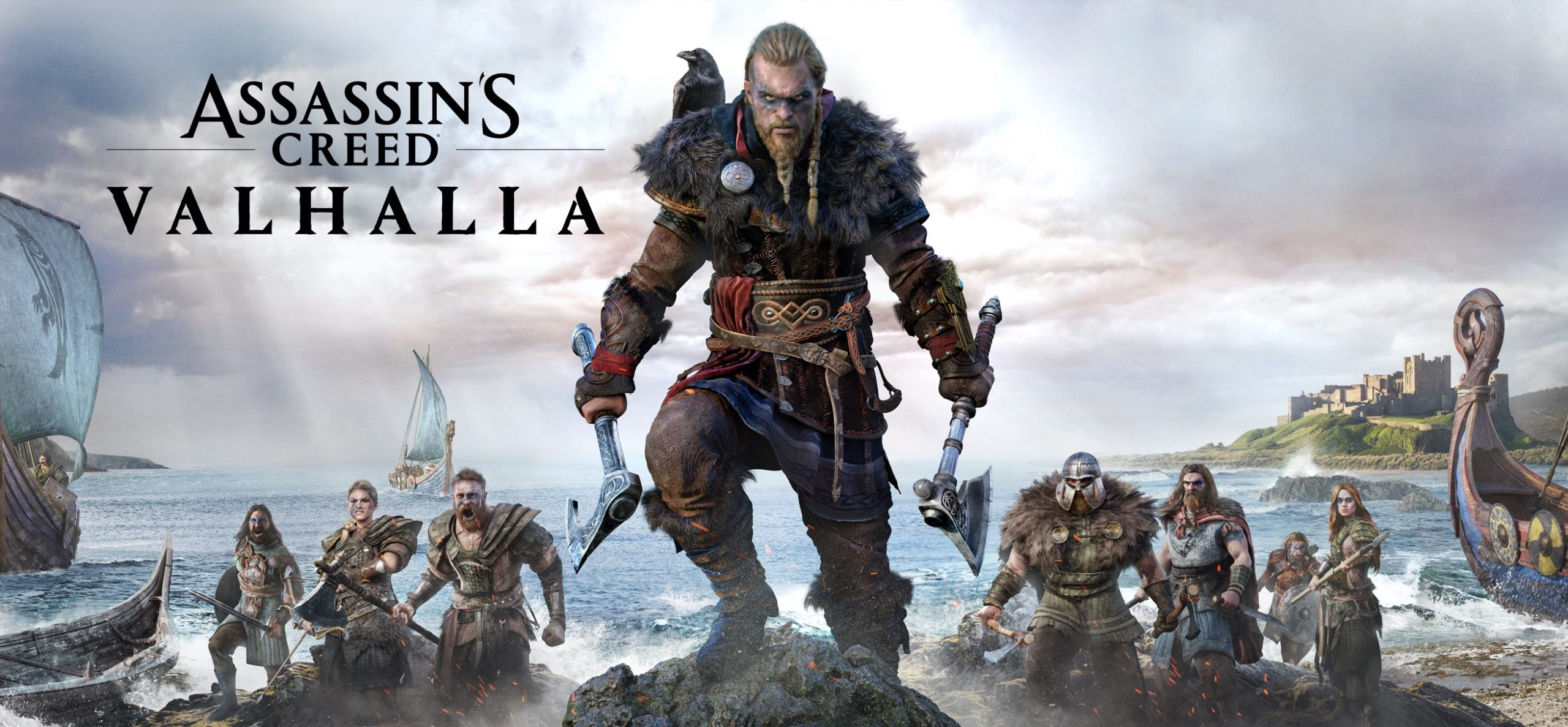 Promotion for Assassin's Creed Valhalla featuring Meivor climbing a rock with the beach, some men, and longboats behind him.