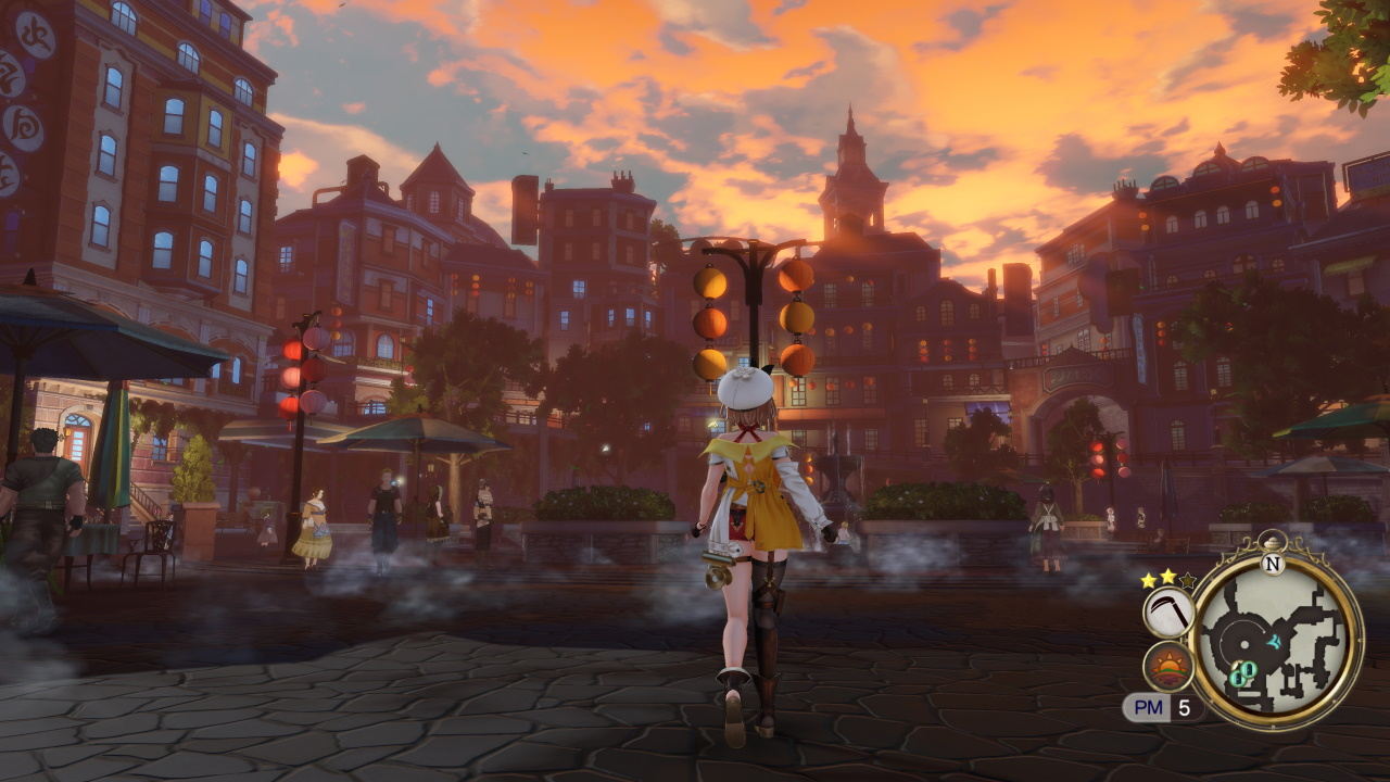Atelier Ryza 2 screenshot featuring Ryza staring out at the sunset.
