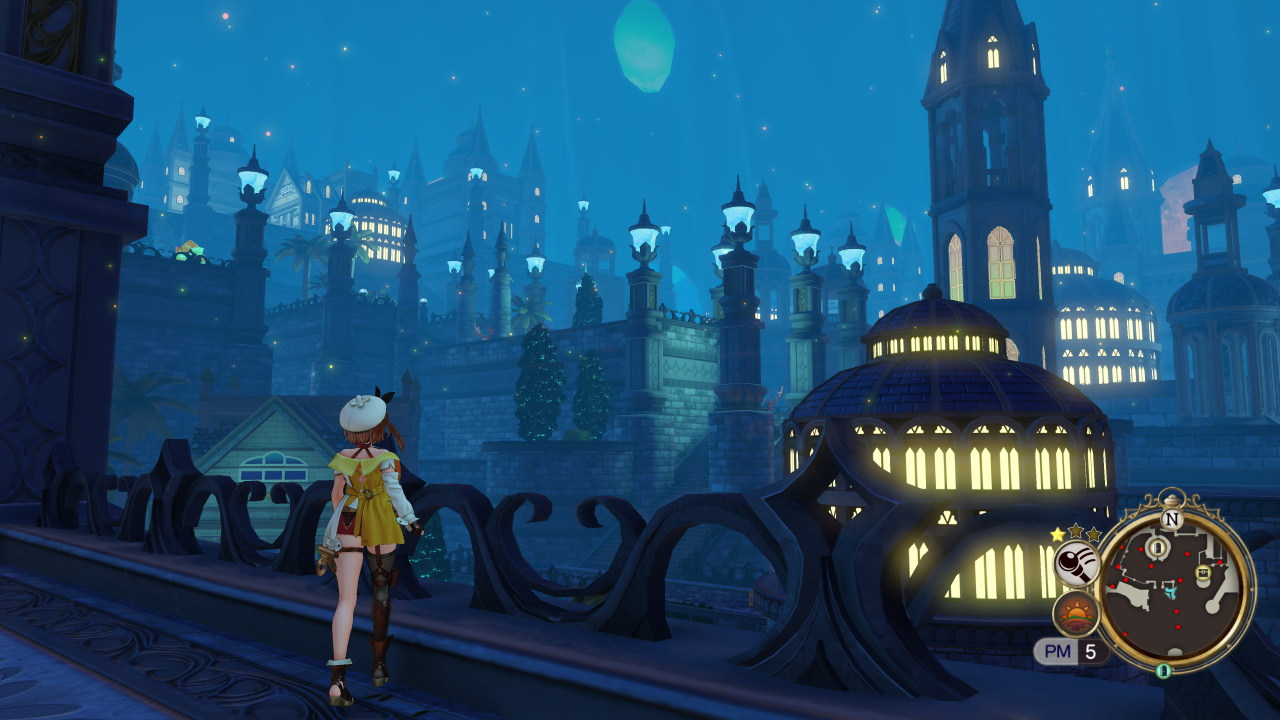 Ryza stands on a bridge overlooking the city skyline at night.