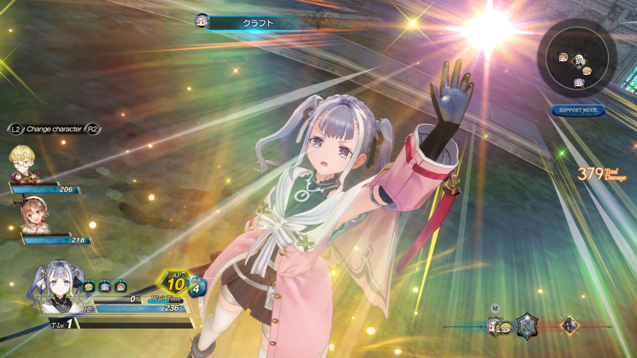 Atelier Ryza 2: Lost Legends & the Secret Fairy screenshot featuring a silver-haired woman with pigtails readies some magic with shining rainbow prism light.