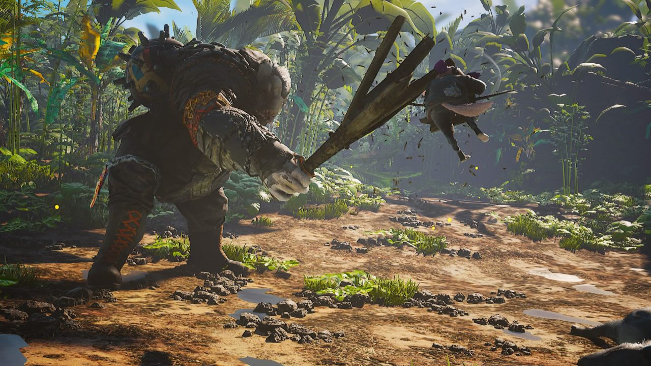 Biomutant screenshot of a small furry warrior leaping to battle a large, lumbering mutant wearing leather gear, swinging a three-pronged wooden club.