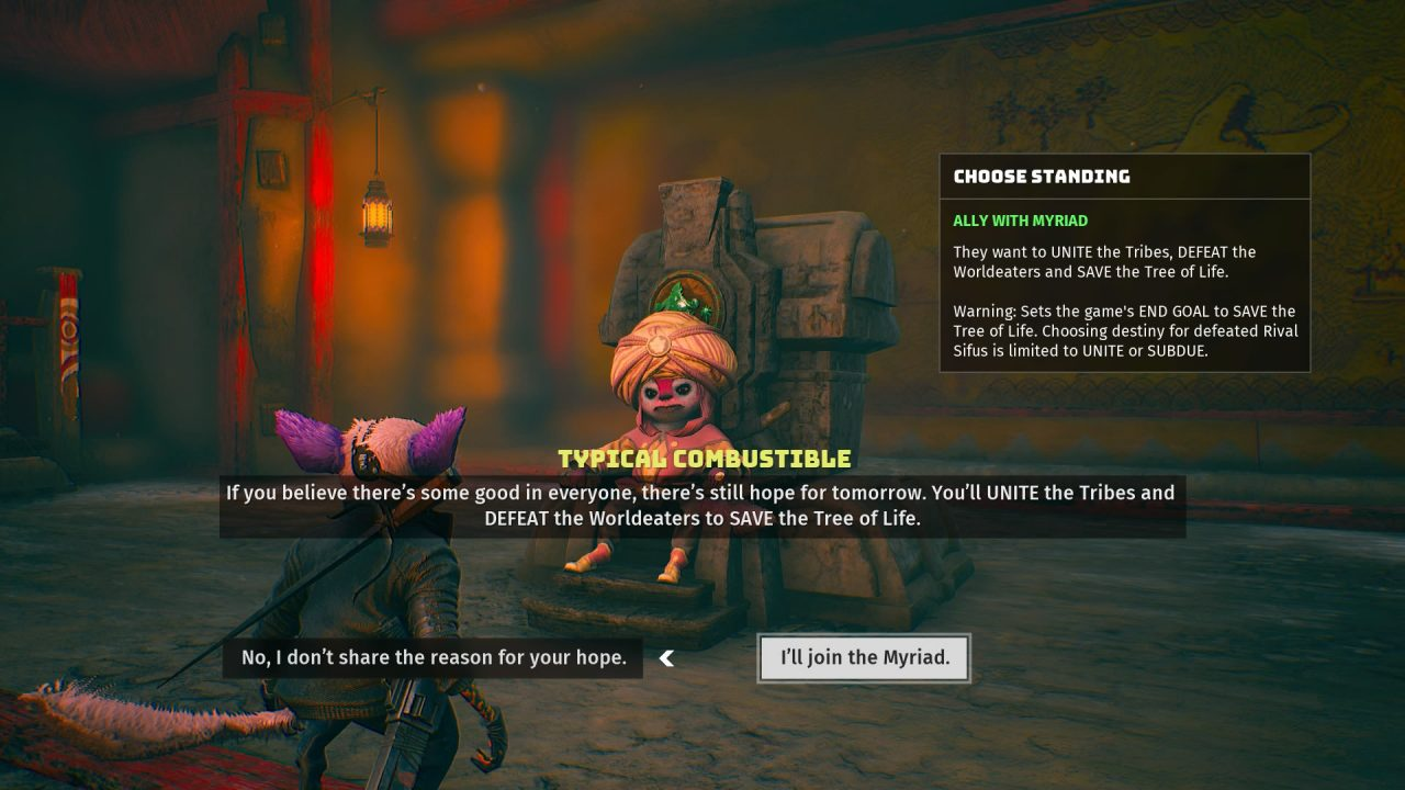 Biomutant screenshot showcasing a dialogue option with the Myriad tribe, as the player is choosing to join or leave the tribe to fend for themselves.