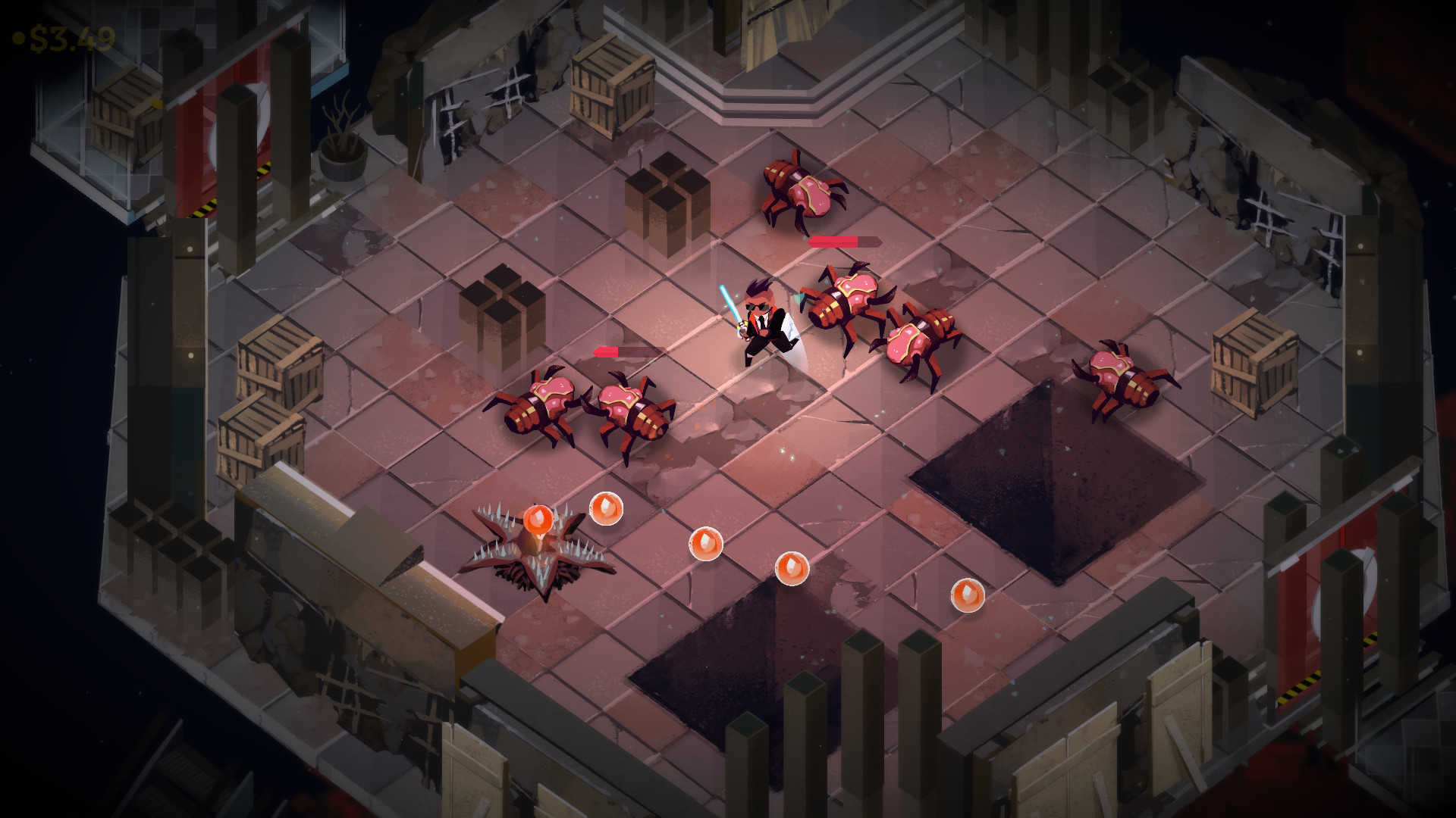 A Boyfriend Dungeon battle screenshot where the polayer character is surrounded by brab-like enemies in a dungeon area.