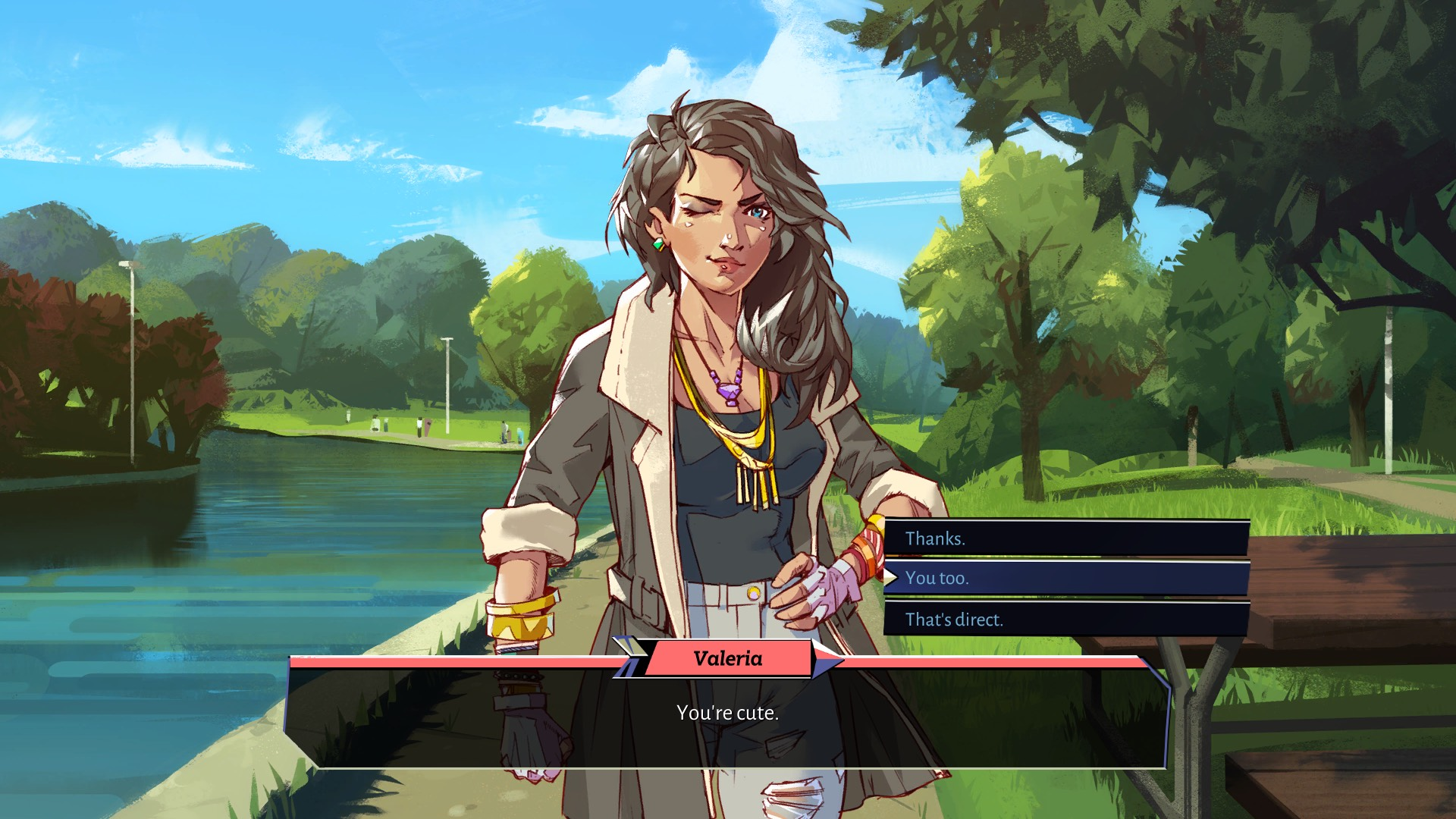 Boyfriend Dungeon dialogue screen with Valeria, who has long brown hair, wears a brown jacket, and is winking at you. She stands by a blue river.
