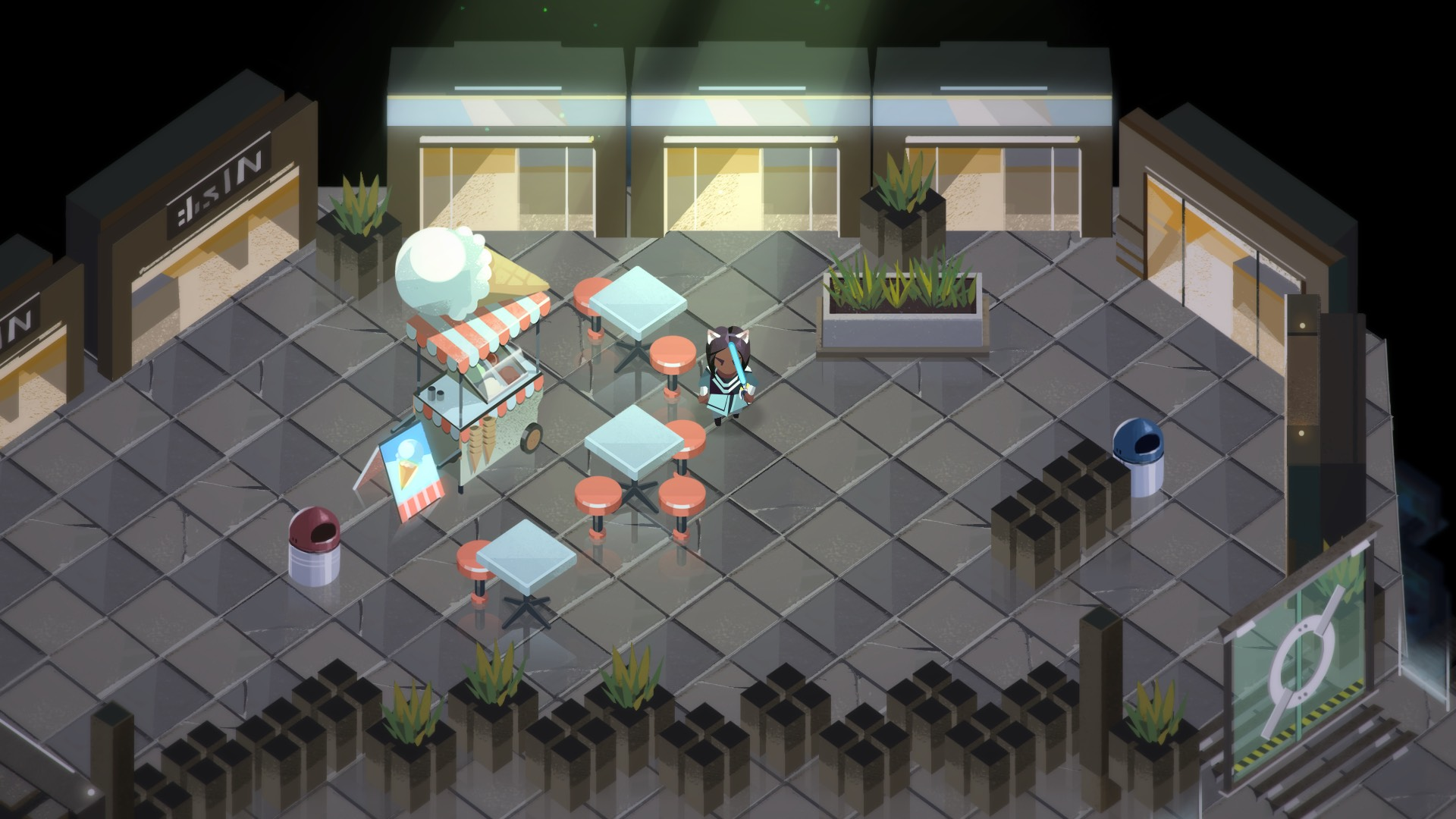 A screenshot of Boyfriend Dungeon, which is an overhead view of the dunj exploration. The floor is grey and cobbled, and there are tables and an ice cream van in the center.