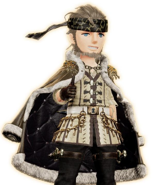 A thief shows off his nice and expensive looking threads, including a fur-trimmed overcoat in Bravely Default II.