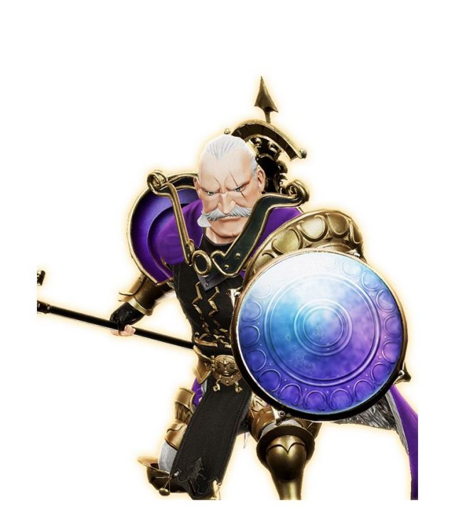 Maddock Lonsdale, an older soldier in golden armor and a multicolored round shield.