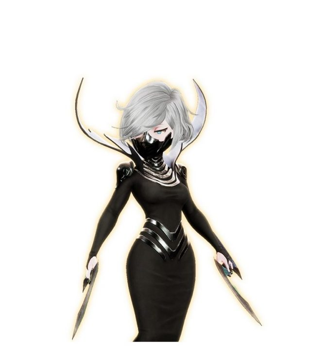 Mora, a silver-haired woman in a black skintight outfit with metal accents and mask.