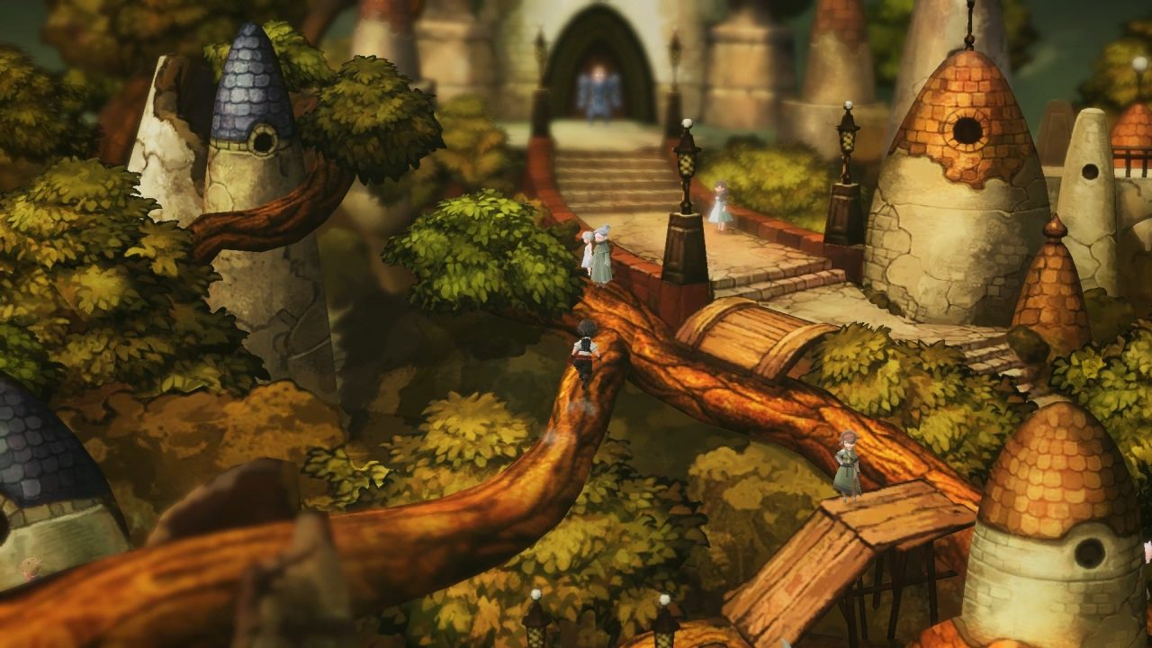 A vivid forest-like village in Bravely Default 2 where the main character is running across some tree branches above verdant green leaves.