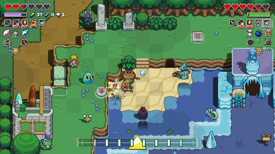 Link and Zelda explore near some water with a wizard enemy and ice temple to the right.