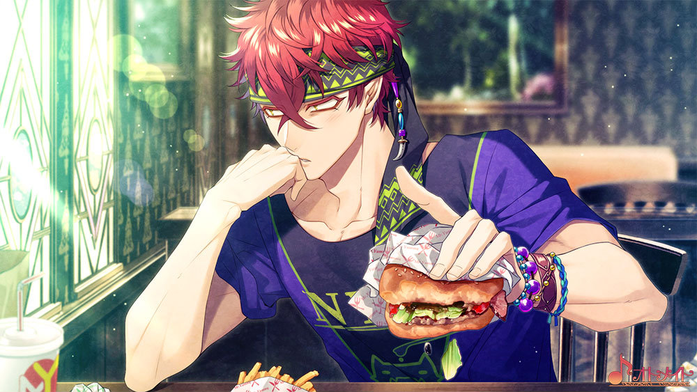 A man with red hair stares glumly while holding a juicy cheeseburger in one hand in Cafe Enchante.
