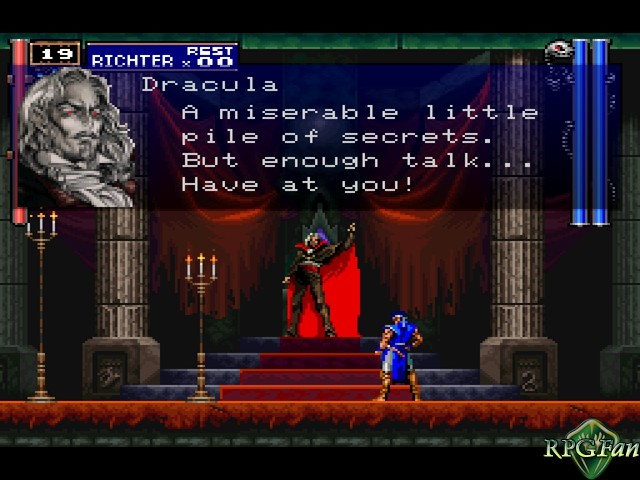 Dracula make a threat in his throne room.