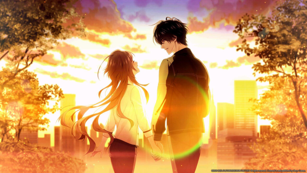 The couple faces each other as the sun sets over the city with Ichika laughing.