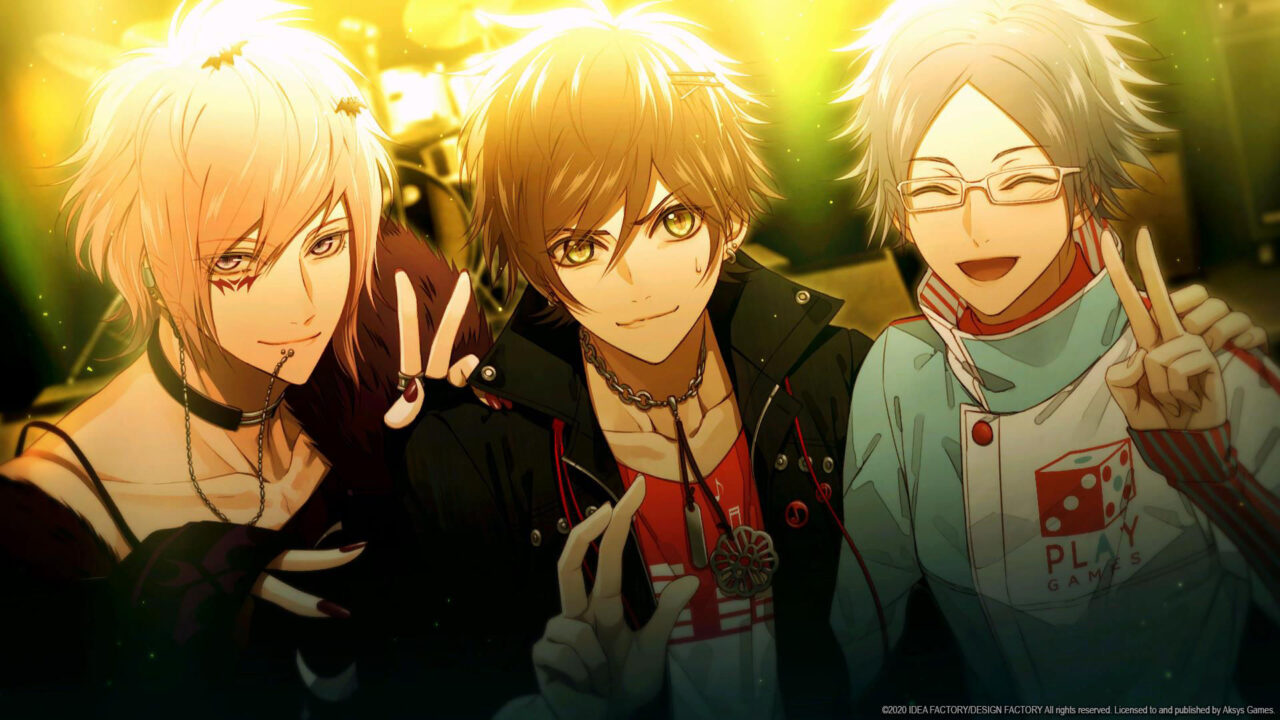There characters pose for a photo making peace signs with their fingers as the sun fades overhead.