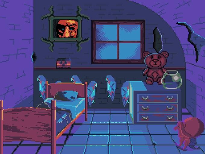 Pixel graphic scene of a child's creepy bedroom.