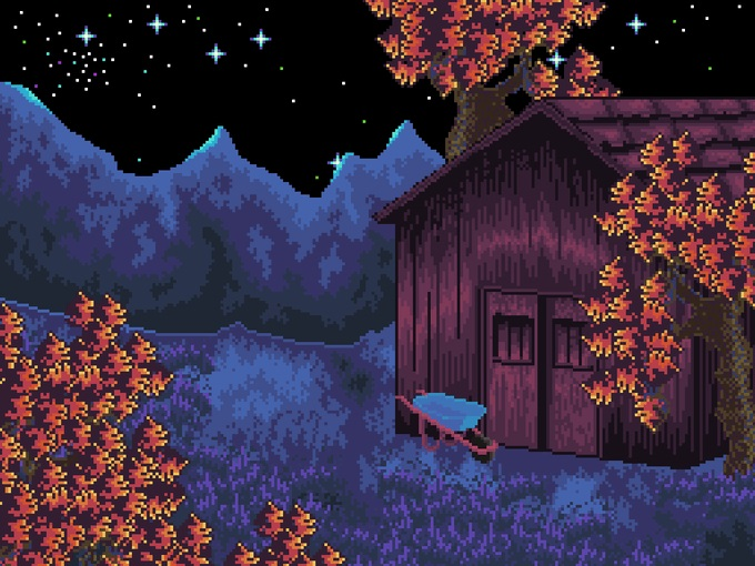 Pixel graphic scene of a cabin at night.
