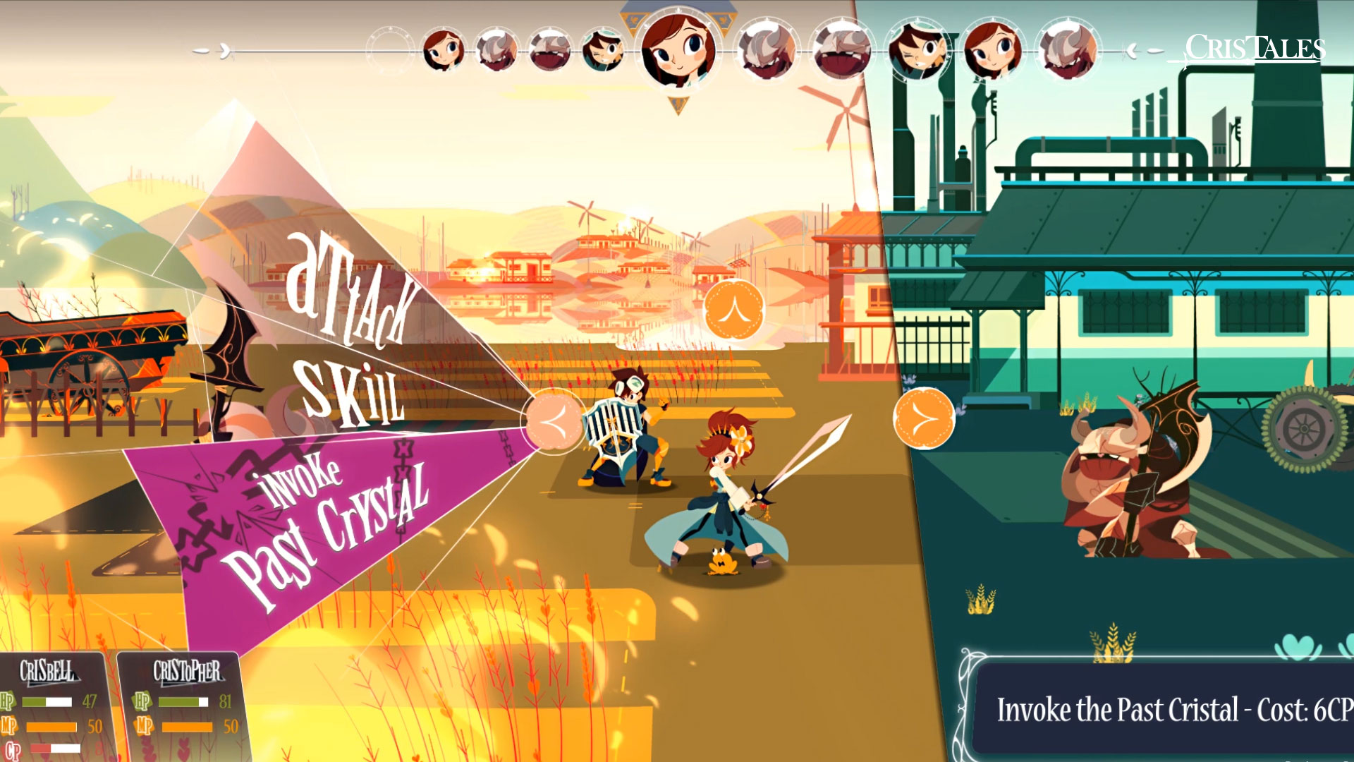 A screenshot of battle in Cris Tales, where the battle menu is displayed showing the menu commands 'Attack', 'Skill' and 'Invoke Past Crystal'.