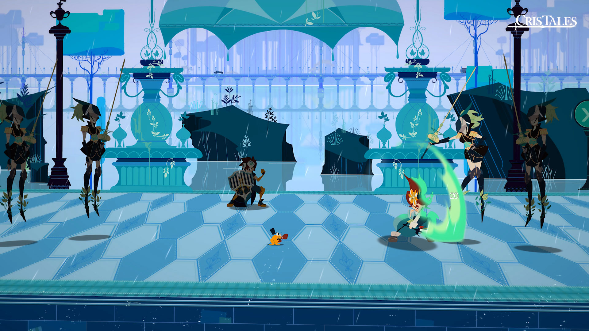 A screenshot of battle within Cris Tales.