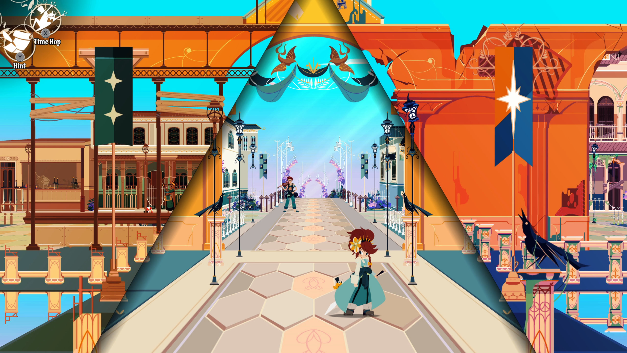 Crisbell pauses along the street in a town in Cris Tales.