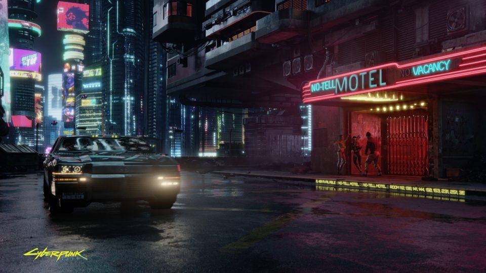 A dark backstreet in Cyberpunk 2077.