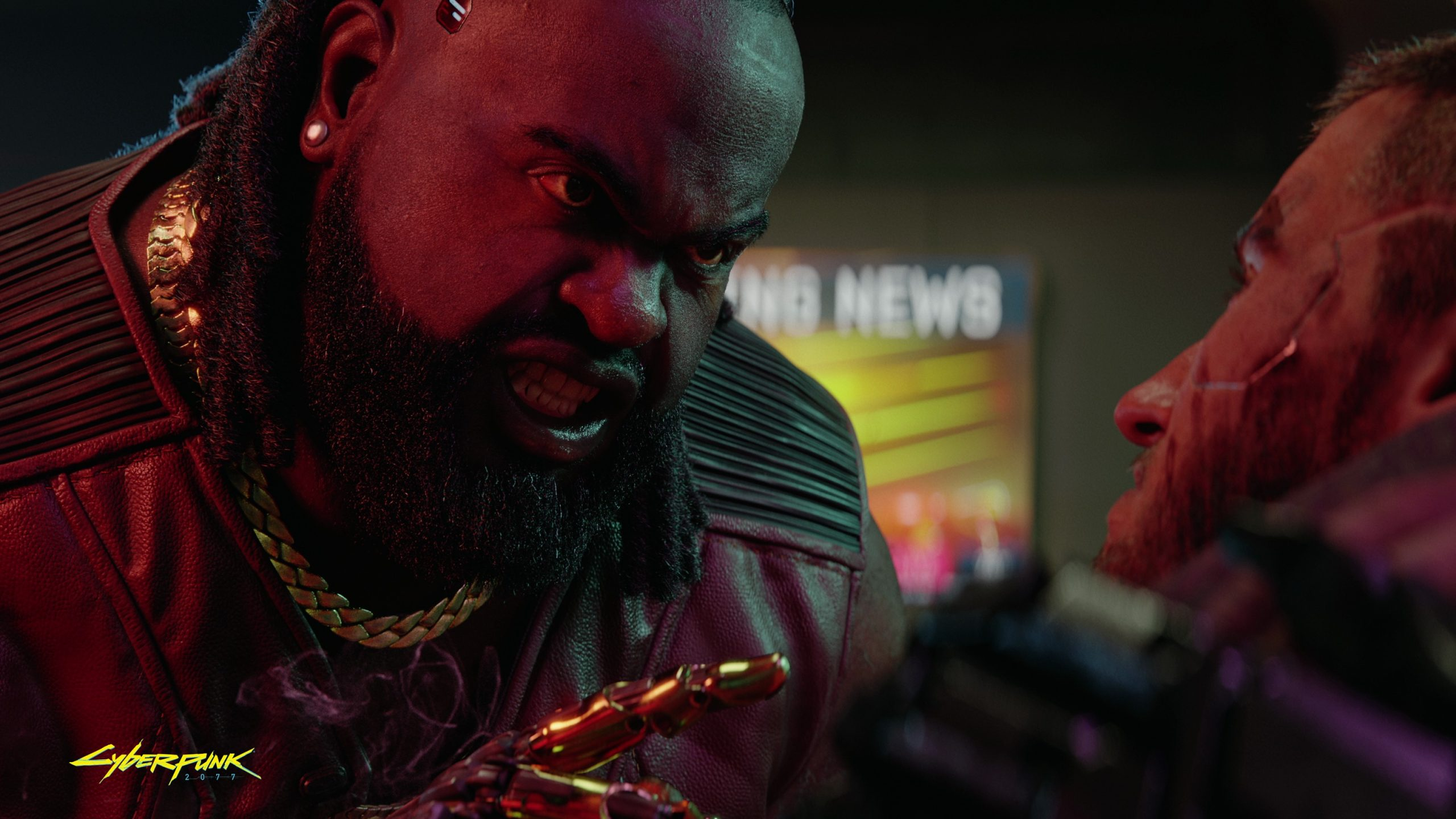 A man stands in a threatening position in Cyberpunk 2077.