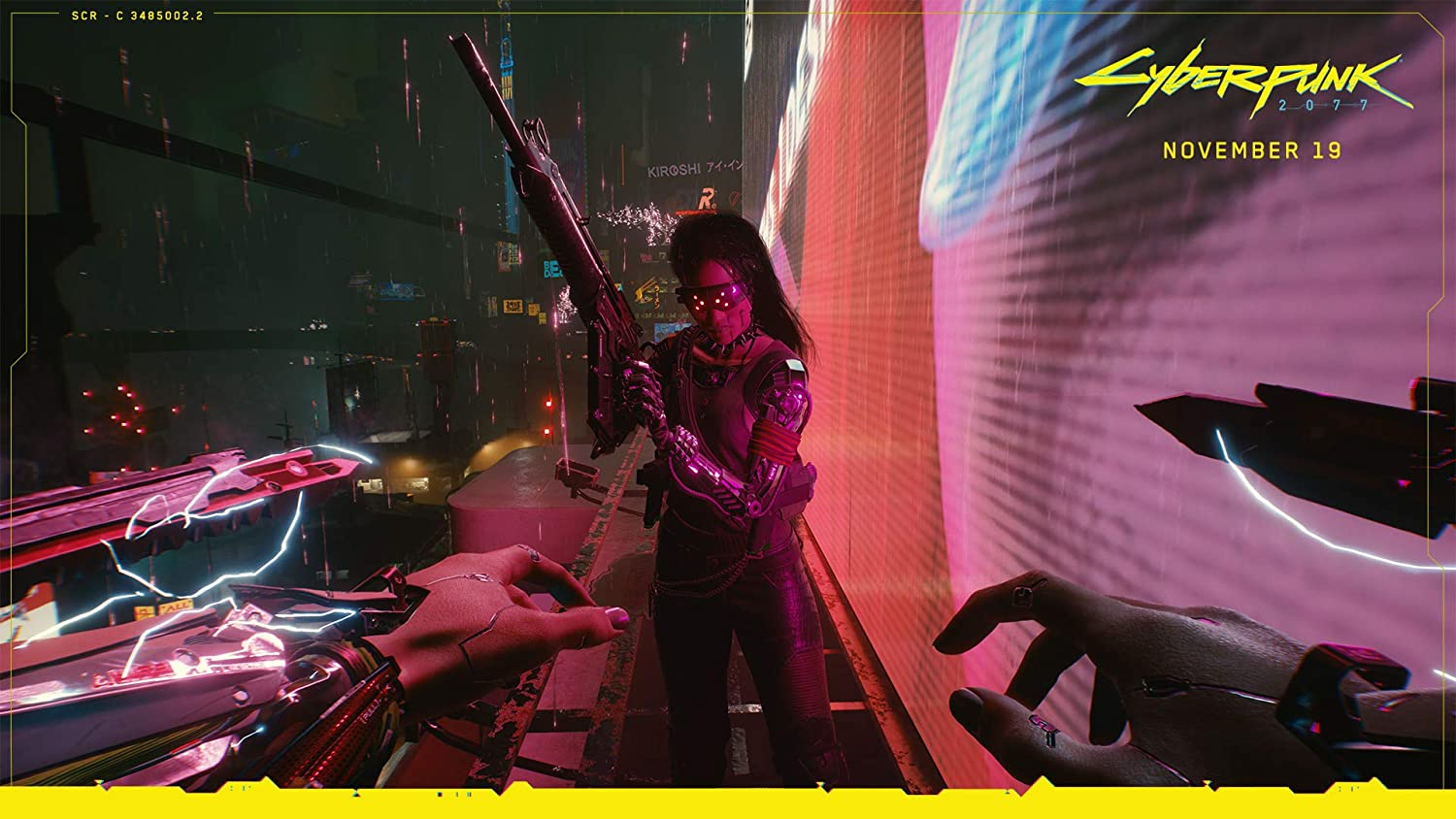 Cyberpunk 2077 screenshot featuring a player character with blades in their arms about to interact with a lady wielding a gun.