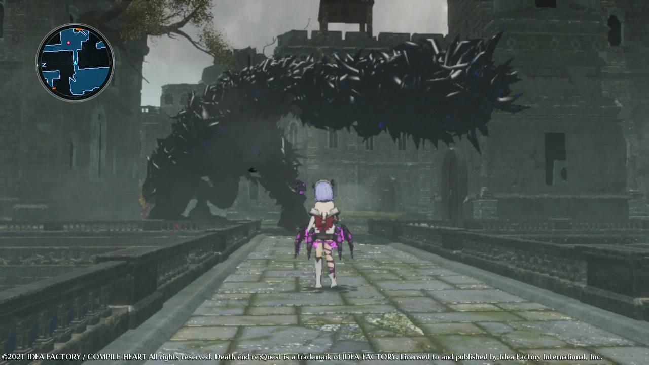 Death end re;Quest screenshot of Shina facing a large monster.