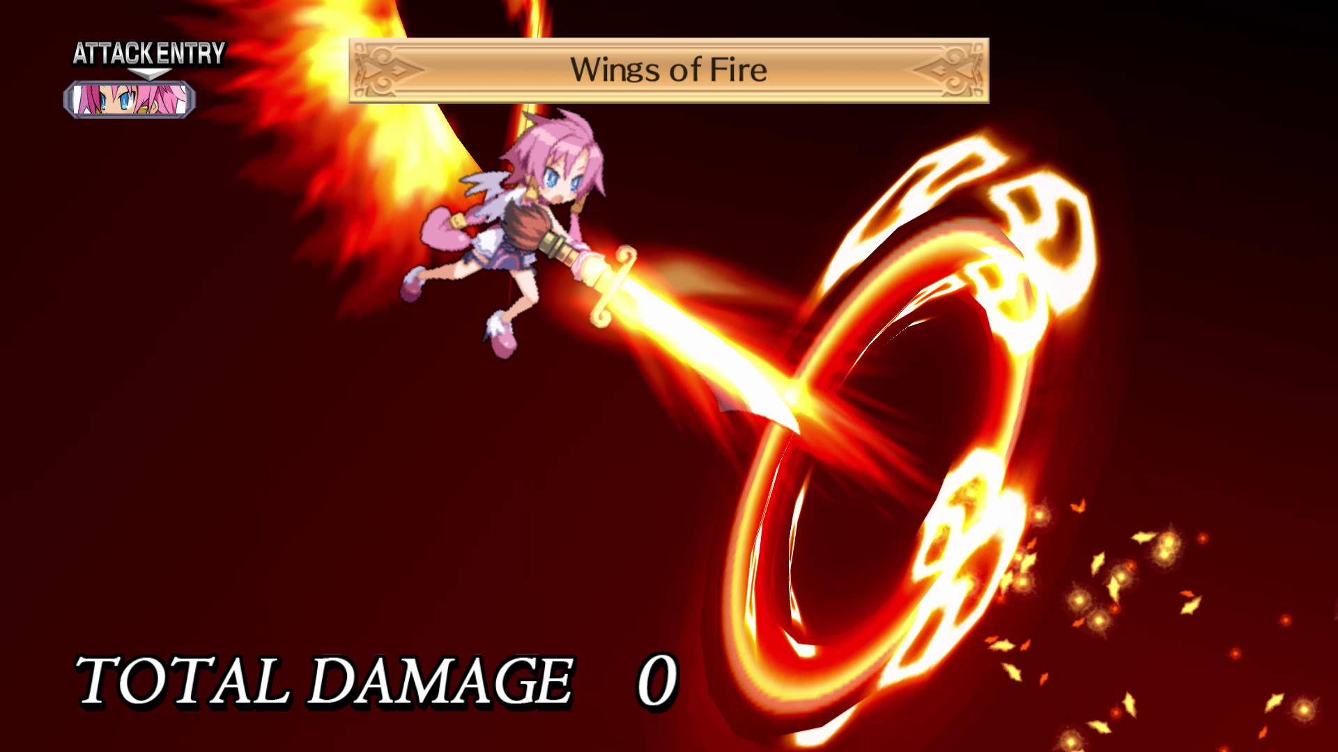 Disgaea 4 Complete Plus Screenshot of a pink-haired girl flying into the air with flaming wings and launching a fireball at her opponent.