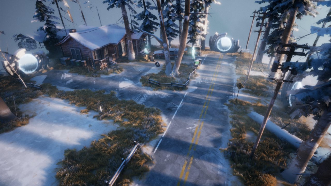 A crossroads in a snowy landscape with two directions blocked by shining orbs.