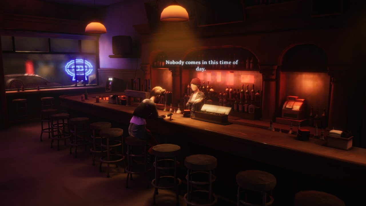 Two characters talk in a bar.
