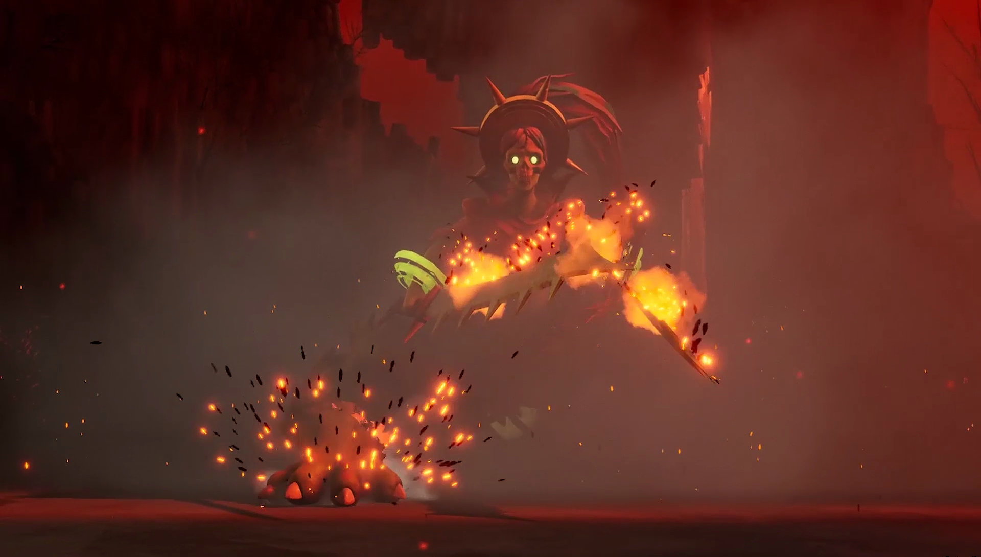 A flame-covered nightmarish creature runs through billowing smog and smoke, clutching swords.